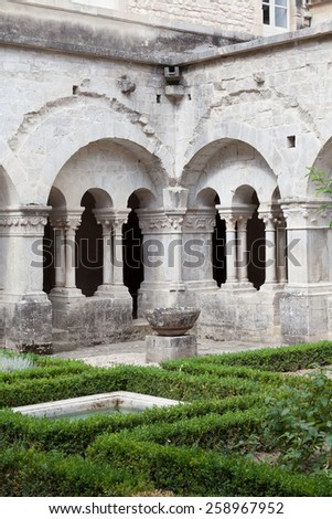 France, Provence. Senanque Abbey garden detail. More than 800 years of history in this picture. - stock photo