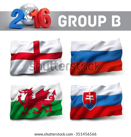 France 2016 qualifying group B with team flags. European soccer competition. - stock photo