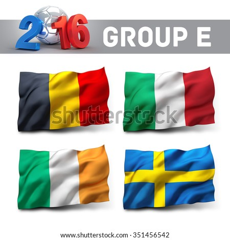 France 2016 qualifying group E with team flags. European soccer competition. - stock photo