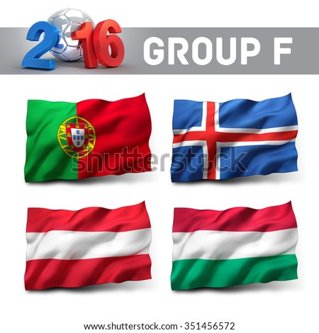 France 2016 qualifying group F with team flags. European soccer competition. - stock photo