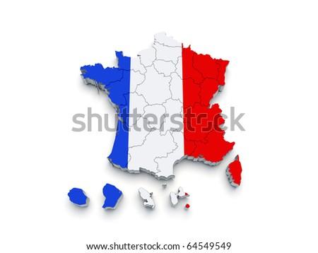 France Regional map 3D on white - stock photo