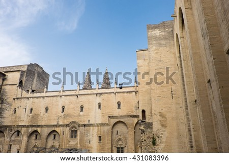 France, Southern France, Vaucluse, Provence, Avignon, views in and round the Papal (Pope's) Palace. UNESCO World Heritage Site.