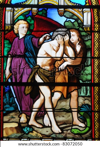 France, stained glass window in the church of Les Mureaux