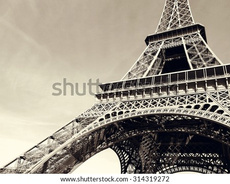 France. Symbol of Paris - Eiffel Tower in retro style