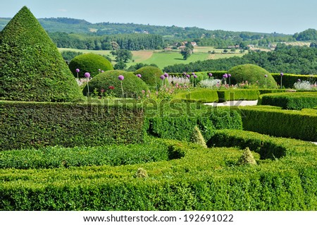 France, the castle of Hautefort garden in Dordogne