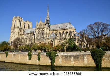France, the picturesque Notre Dame cathedral of Paris