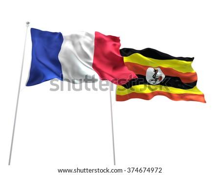 France & Uganda Flags are waving on the isolated white background - stock photo