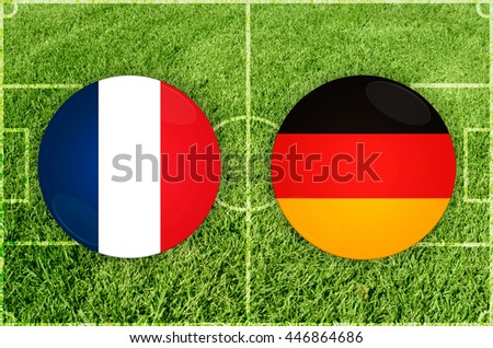 France vs Germany icons at football field background - stock photo