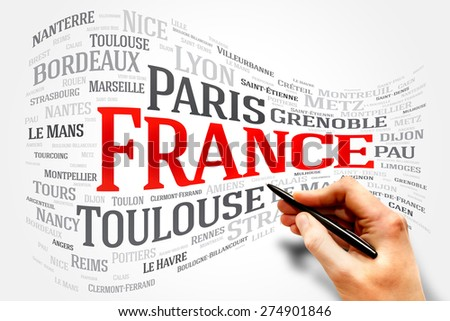 FRANCE word cloud, travel concept, list of cities in France - stock photo