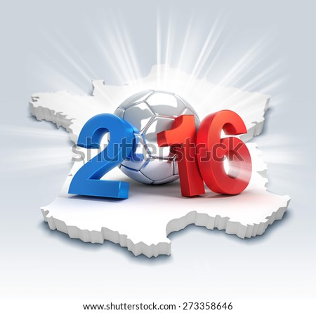 France 2016, year illustrated with a silver soccer ball, illuminated on a french map - stock photo