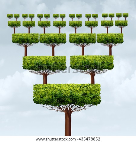 Franchise business concept and multi level marketing success tree as a franchising increase or franchisee growth structure symbol in a 3D illustration style. - stock photo