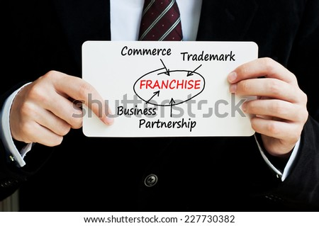 Franchise concept. Businessman holding a paper with a franchising scheme written on it.  - stock photo
