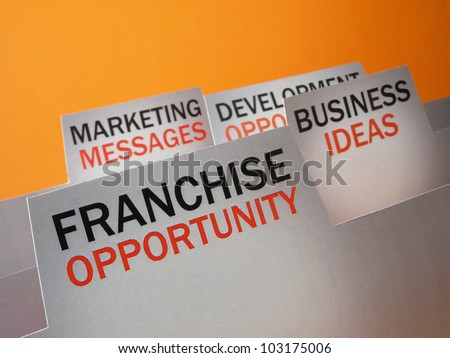 Franchise opportunity and the business plan presentation folder - stock photo