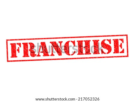FRANCHISE red Rubber Stamp over a white background. - stock photo