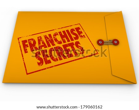 Franchise Secrets Yellow Envelope Classified Information Tips Advice - stock photo