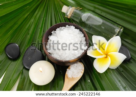 frangipani with salt in bowl with candle ,oil on green leaf - stock photo
