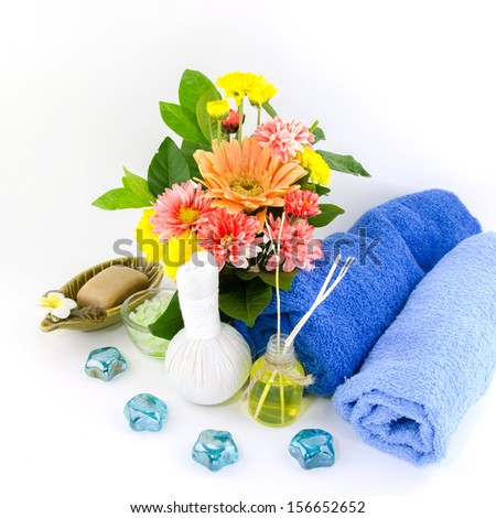 Frangipani, yellow, red Frangipani flowers and spa stones with flowers placed on the floor and white. - stock photo