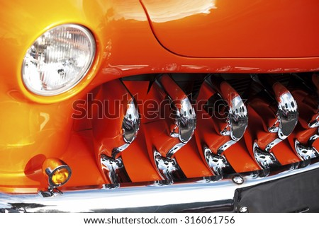 Franken, Germany, 21 June 2015: Front detail of 1951 Mercury Coupe vintage car - stock photo