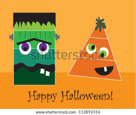 Frankenstein and Candy Corn - stock photo