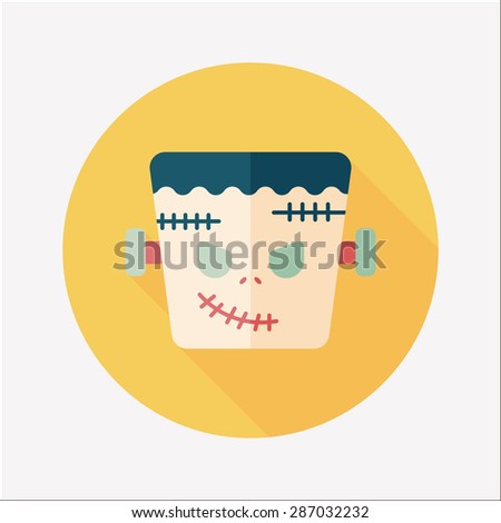 Frankenstein flat icon with long shadow - stock photo