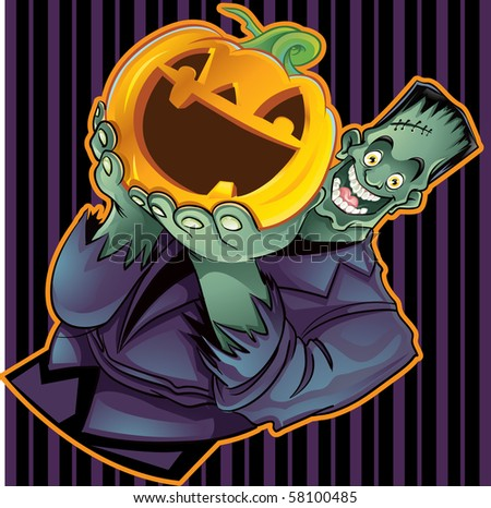 Frankenstein Holding a Pumpkin with Wallpaper