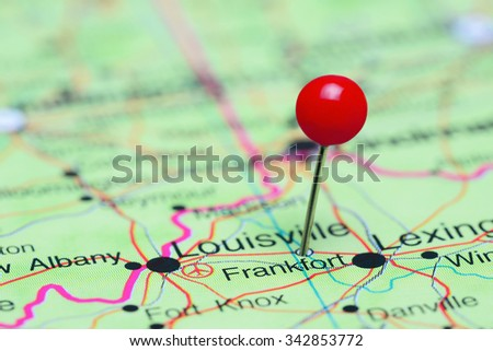 Frankfort pinned on a map of USA  - stock photo