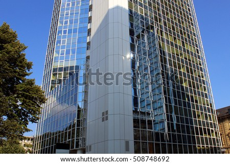 Len Frankfurt clouds buildings reflecting glass structure bank stock photo 920931