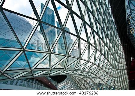 Frankfurt, A futuristic building in Frankfurt Germany - stock photo