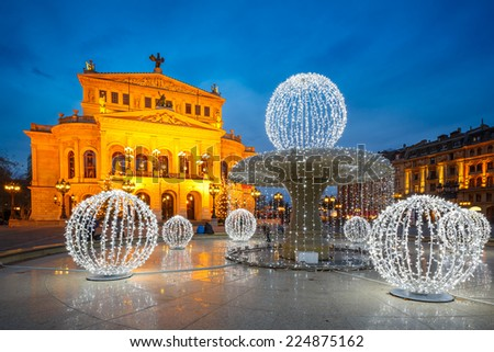 Frankfurt Alte Oper at Cristmastime, Germany - stock photo