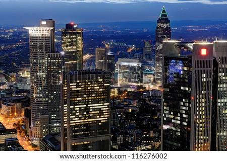 Frankfurt am Main at night - stock photo