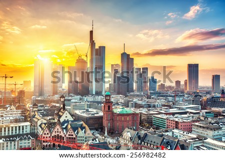 Frankfurt am Main at sunset, Germany - stock photo