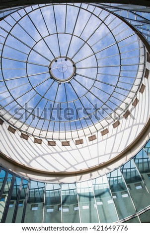 FRANKFURT AM MAIN, GERMANY - APRIL 30, 2016: Art installation in the Schirn Kunsthalle in the old town,
