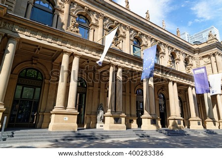 FRANKFURT AM MAIN, GERMANY- AUGUST 6, 2015:  Close up of Stock exchange building in Frankfurt am Main, Germany. - stock photo