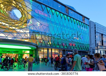 FRANKFURT AM MAIN, GERMANY - AUGUST 7, 2015: MyZeil, a shopping mall, part of the Palais Quartier development on Zeil street, one of the most famous and busiest shopping streets in Germany. - stock photo