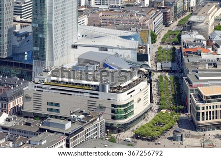 FRANKFURT AM MAIN, GERMANY - AUGUST 6, 2015 : Skyline of Frankfurt city with a view of the Zeil main shopping market street