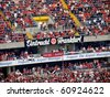 FRANKFURT AM MAIN, GERMANY - AUGUST 1: The Eintracht Frankfurt supporters at the Commerzbank Arena for the friendly game against Chelsea FC on August 1, 2010. Final score: 2-1 for the home team. - stock photo