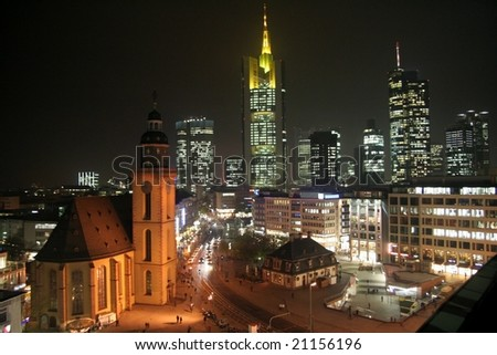 Frankfurt am Main, Germany, by night - stock photo