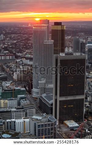 frankfurt am main germany cityscape sundown - stock photo