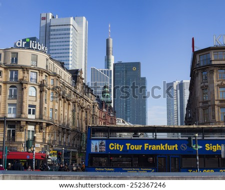 FRANKFURT AM MAIN, GERMANY - FEBRUARY 5, 2015: Frankfurt am Main - the fifth largest city in Germany. Photo taken on february 5, 2015 from the main city train station of Frankfurt.  - stock photo