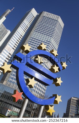 FRANKFURT AM MAIN, GERMANY - FEBRUARY 7, 2015: photo of European Central Bank, one of the world's most important central banks is situated in Frankfurt am Main city, Germany. Photo on January 7, 2015  - stock photo