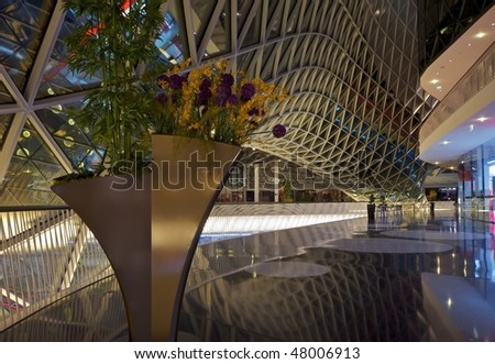 Frankfurt am Main, Germany - Inside view of the MyZeil shopping center - stock photo