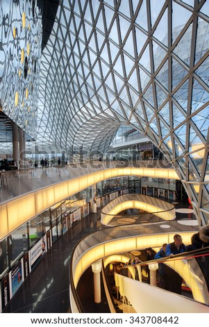 FRANKFURT AM MAIN, GERMANY - JAN 10, 2015: The interior of MyZeil  shopping center in Frankfurt. It's been designed by Massimiliano Fuksas. - stock photo