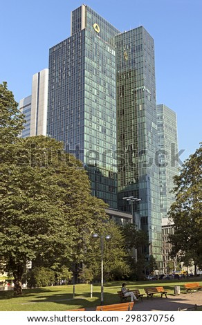 FRANKFURT AM MAIN, GERMANY - JULY 2, 2015: The Europaeische Zentral Bank (European Central Bank) is the central bank for the Euro zone. - stock photo