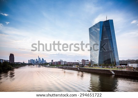 FRANKFURT AM MAIN, GERMANY - MAY 10, 2015: new modern building of the European Central Bank, ECB in Frankfurt