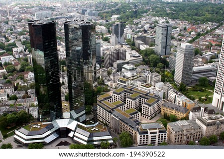 FRANKFURT AM MAIN, GERMANY, MAY The 3rd 2014: Aerial shot of  Frankfurt am Main, Germany. Frankfurt is the largest city in the German state of  Hesse  and the financial centre of Germany.