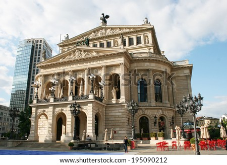 FRANKFURT AM MAIN, GERMANY, MAY The 3rd 2014: The Alte Oper (Old Opera) house in Frankfurt am Main, Germany. The square in front of the building is known as Opernplatz (Opera Square).