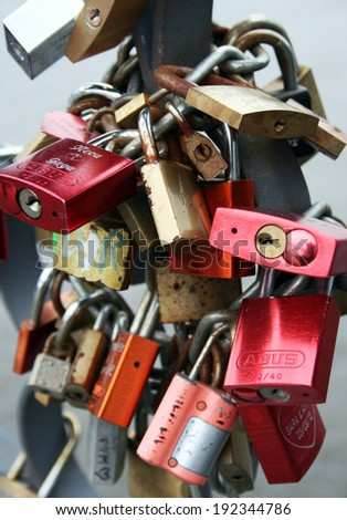 FRANKFURT AM MAIN, GERMANY, MAY The 1st 2014: Eiserner Steg bridge in Frankfurt, Germany, where thousands of couples showing their everlasting love, by attaching a padlock to the bridge.