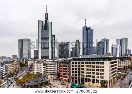 FRANKFURT AM MAIN, GERMANY - NOVEMBER 14, 2014: Aerial view of Frankfurt with Hauptwachen. The Hauptwache is a central point and one of the most famous plazas of Frankfurt. - stock photo
