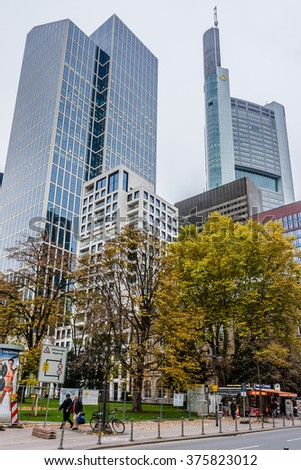 FRANKFURT AM MAIN, GERMANY - NOVEMBER 14, 2014: Street view of Frankfurt. Frankfurt am Main is the largest city in the German state of Hesse and the fifth-largest city in Germany.