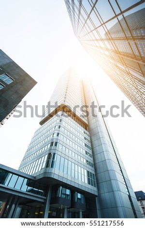 Frankfurt am Main, Germany, September 20, 2016: High business skyscrapers on a sunny day